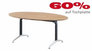 Konferenztisch Ellipse L1810 in Massivholz Bambus  1750x1030x25mm