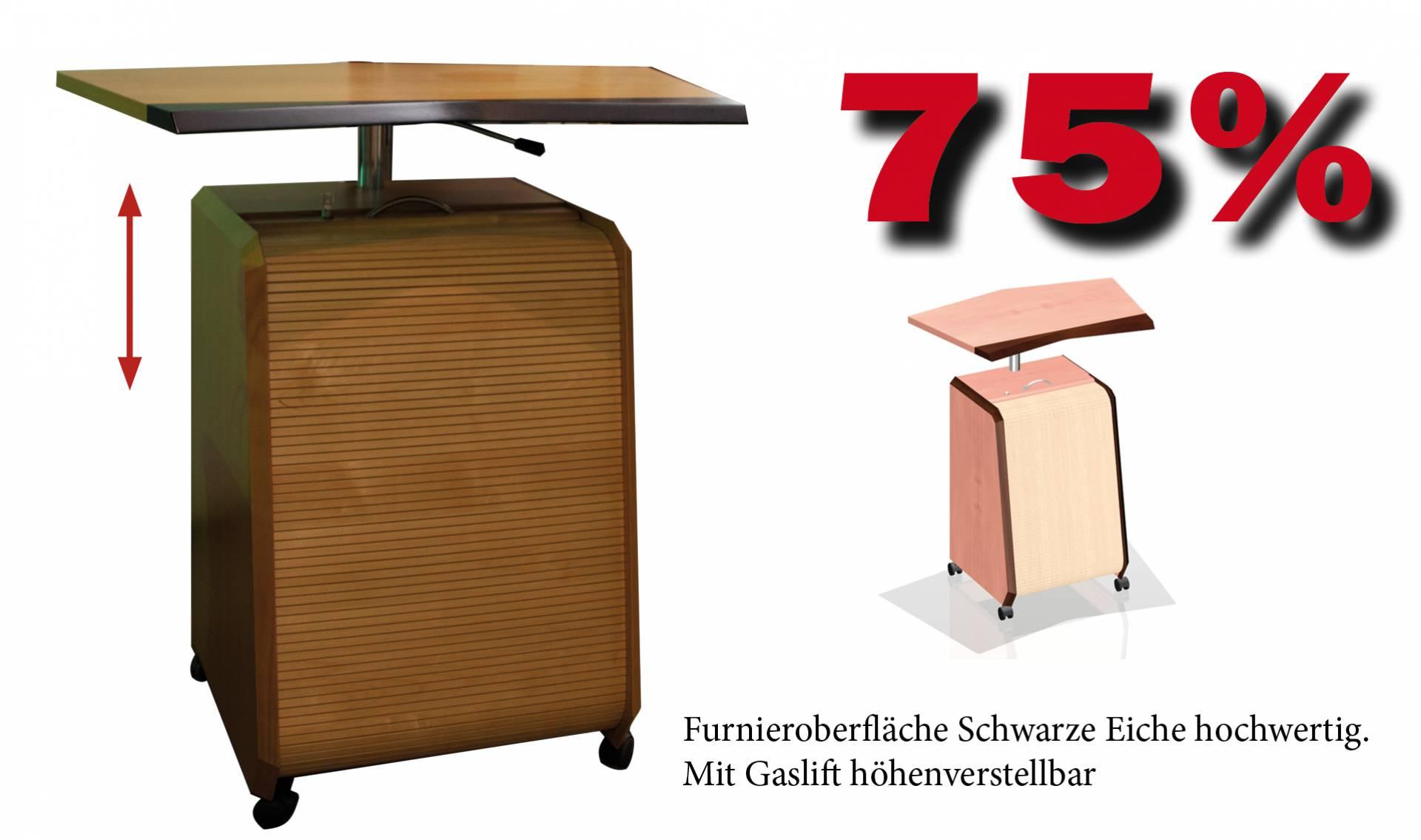 Stehpult in Echtholz mit Rolladenunterschrank 622x612x900mm