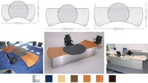 circon executive command - Chefschreibtisch - wie im Großen, so im Kleinen. Ahorn kombiniert mit Linoleum blau.