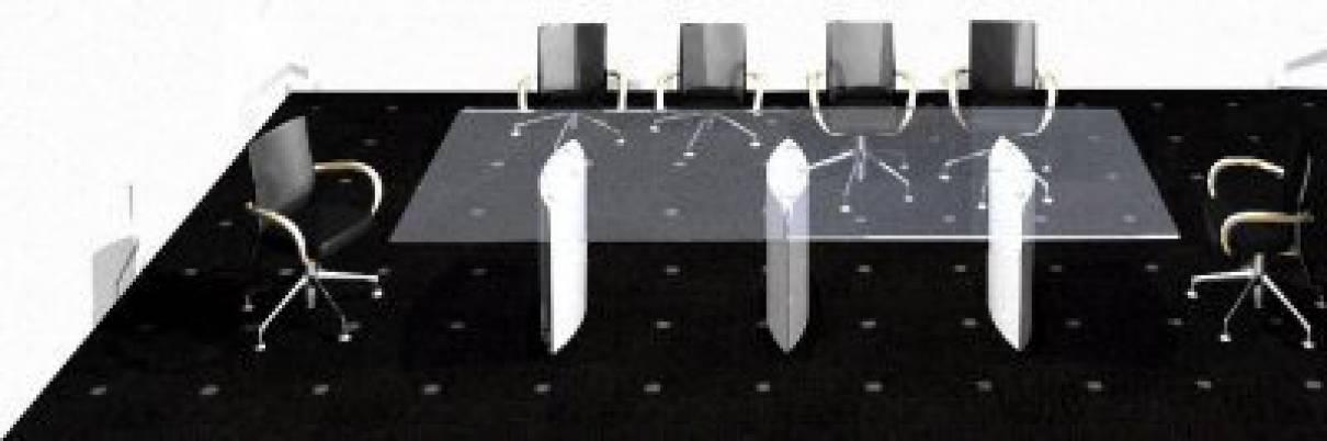 circon s-class - 3x1m - Konferenz-, Besprechungstisch mit Glasplatte