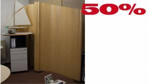 Set: Flexible Stellwand Flexiscreen, Echtholz 1250x1950mm & 1250x1700-1950mm
