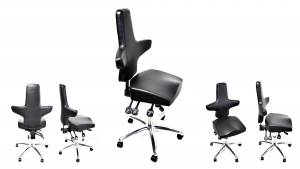 WEY-chair 106 LEDER mit Sattelsitz für höhenverstellbare Tische