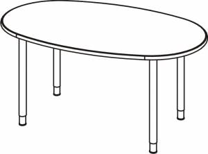 Variconferenz - Variable Konferenztische ovale Form mit Rundrohrfüßen