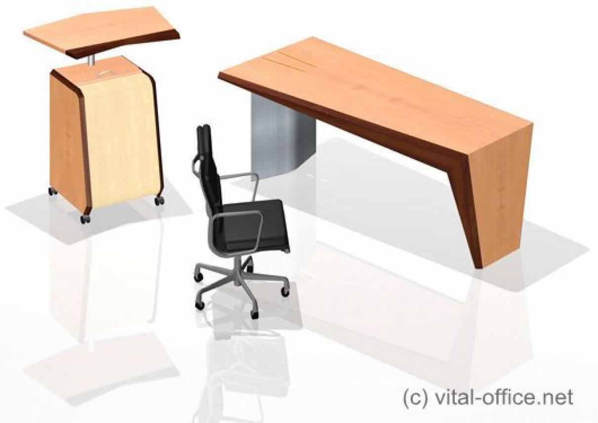 Designvariationen von Schreib- und Konferenztischen mit face contable Stehpult