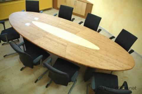 circon s-class - 4x1m - Besprechungstisch in Bambus Massivholz mit Powerport und nach Feng Shui Maßen