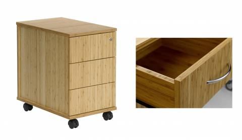 Bambus Büro-Rollcontainer