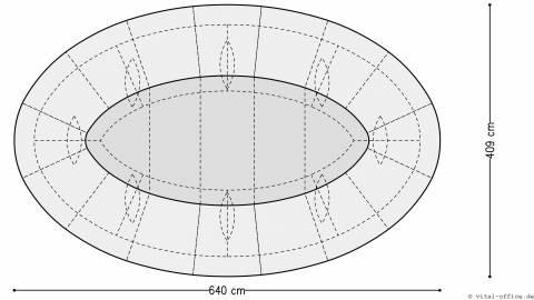 circon s-class 6x4m - Elliptischer Konferenztisch für HDI, Hilden