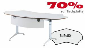 Schreibtisch FormFit 8d3c50 in kristallweiß Dekor 2040x1003mm