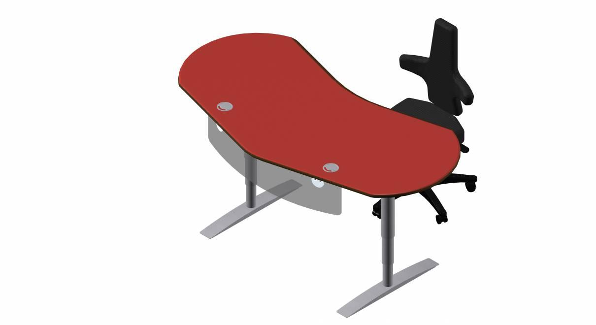 Steh-Sitz Schreibtisch: Joker Diamond in Linoleum