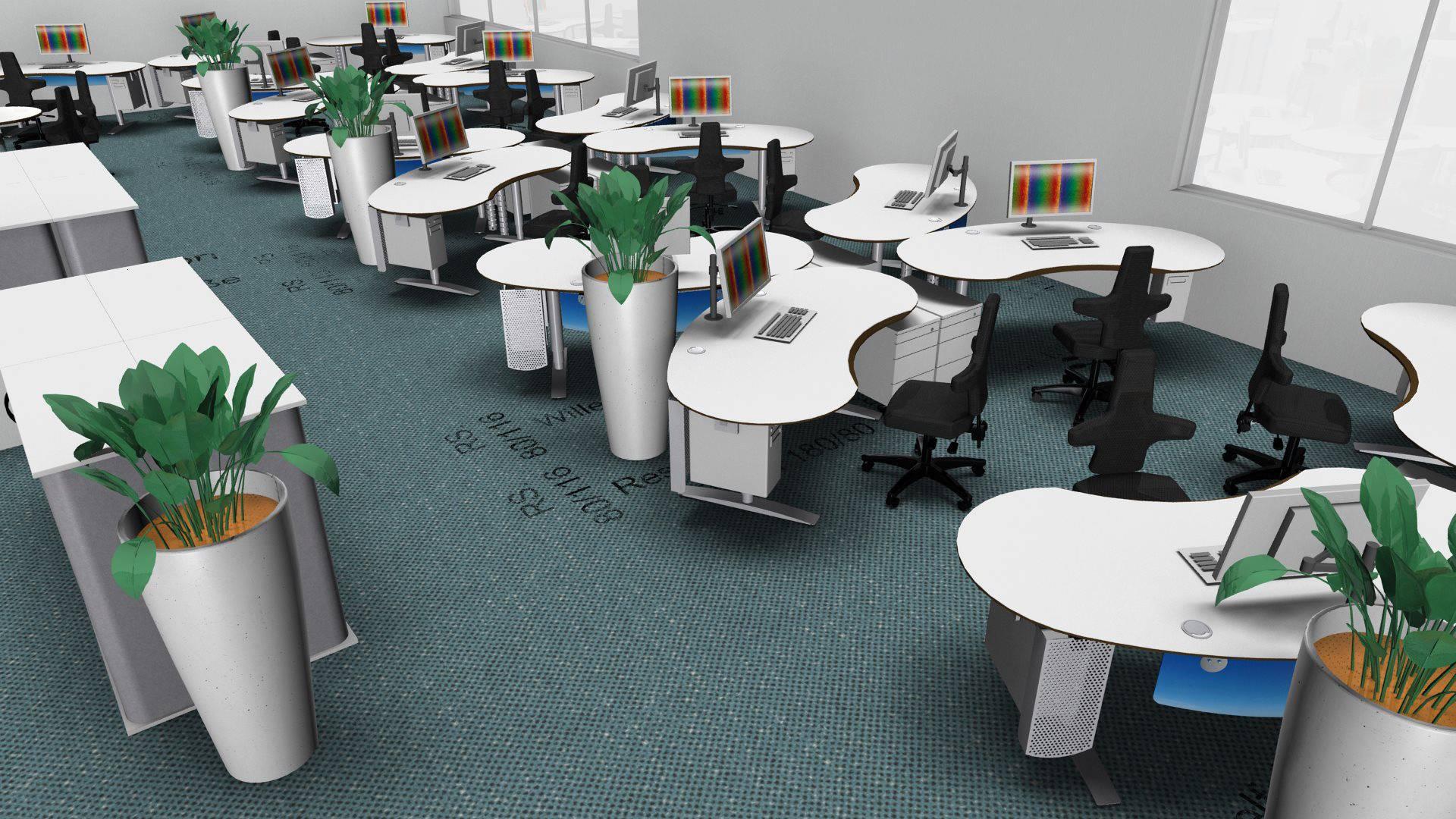 Großraumbüro für 48 Mitarbeiter in ansprechendem Design - Vital-Office