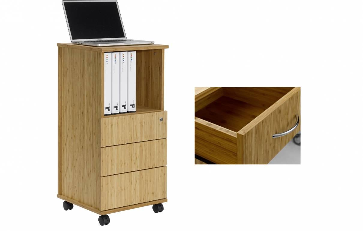 Bambus Büro-Caddy mit 3 Schubladen (Sitwell Lagerkollektion)