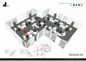 Büroplanung | Großraum-Gruppenbüro DTM-01 für DK Büro und Wohndesign GmbH