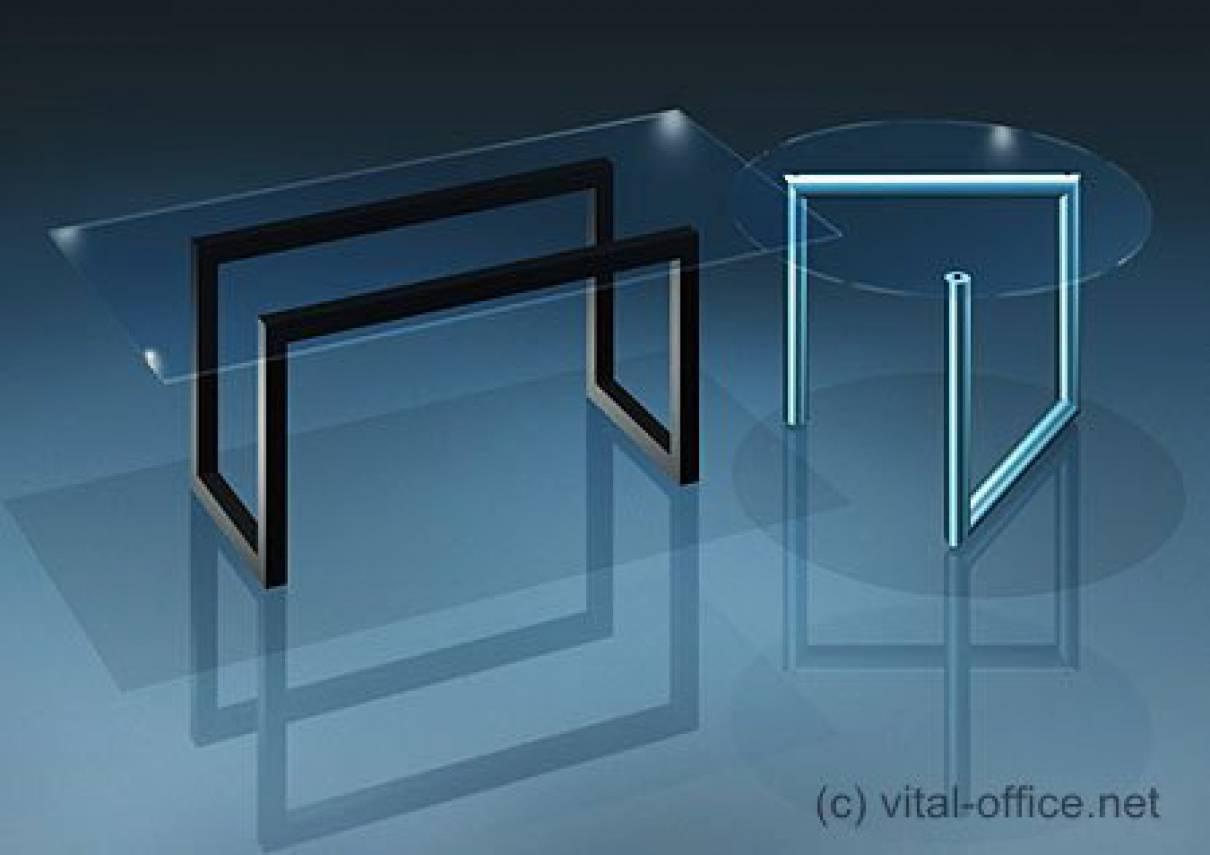 circon executive glass classics - Chefschreibtisch - Glastisch Kombination:
