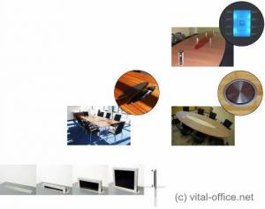 Anschlussfelder, Steckboxen, Steuereinheiten, versenkbare Bildschirme, Mikrofone und Mediensteuerungen