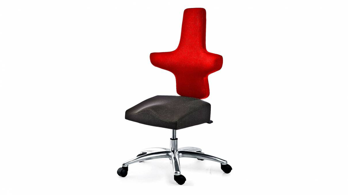 WEY-chair 106 DUOcolor ROT mit Sattelsitz für höhenverstellbare Tische