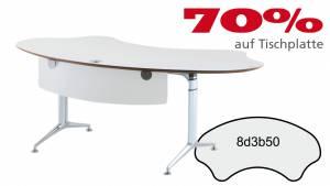 Verkauft: Schreibtisch FormFit 8d3b50 in kristallweiß Dekor 2040x1027mm
