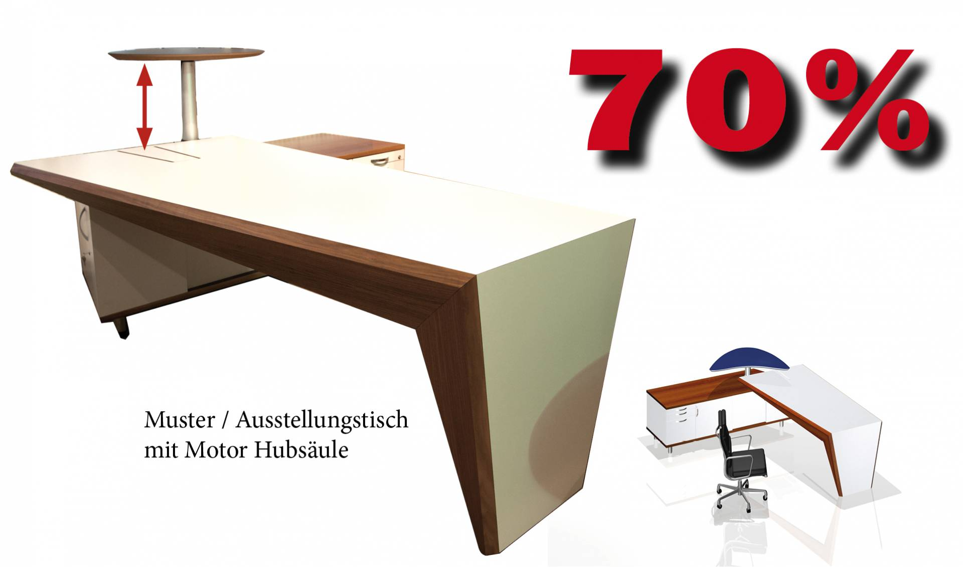 Cheftisch Face mit Schrank und Hubplatte in Echtholz