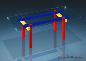 circon executive glass classics - Chefschreibtisch - Rot-Gelb-Blauer Tisch